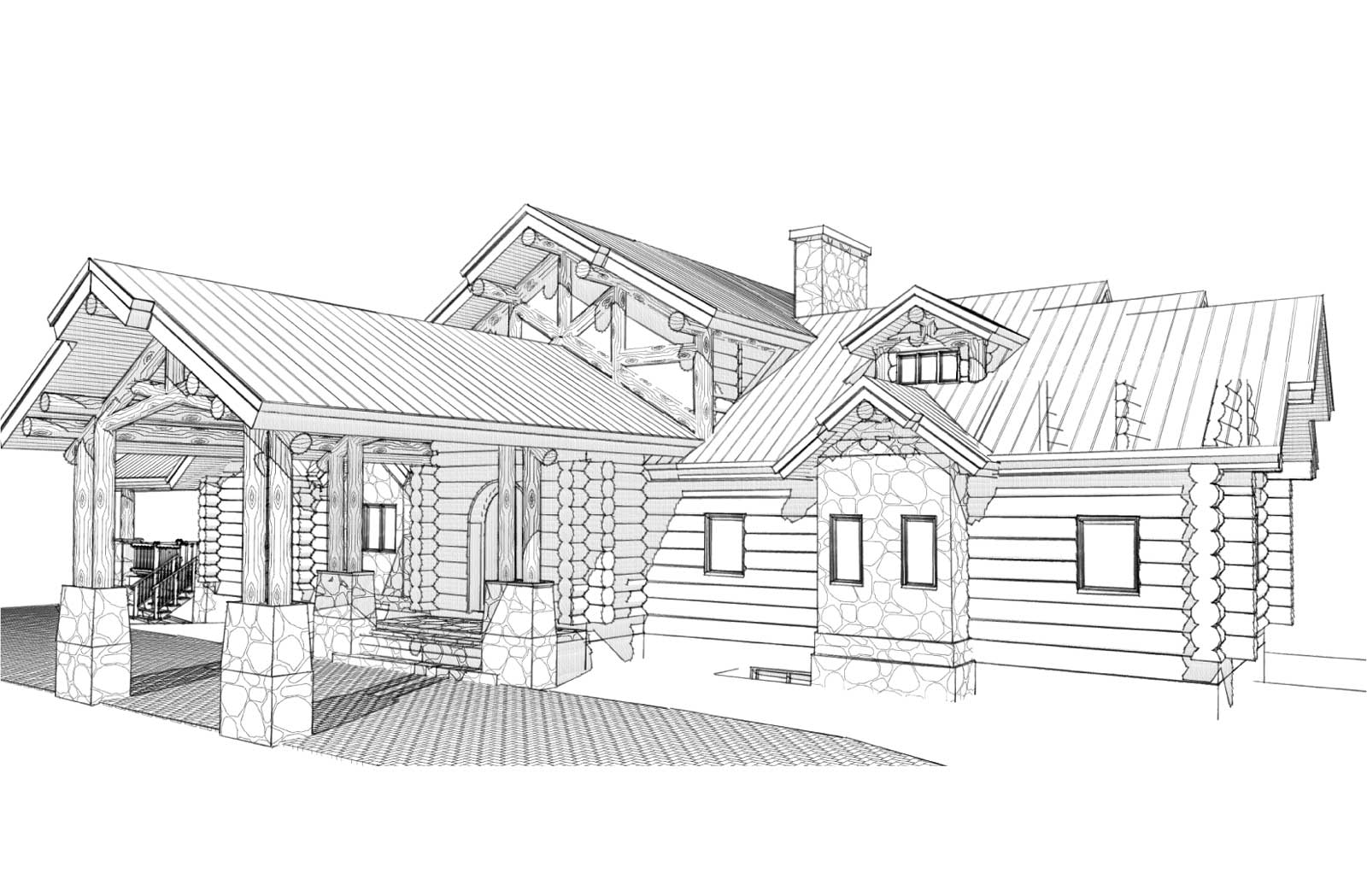 Telluride custom design log home front right view