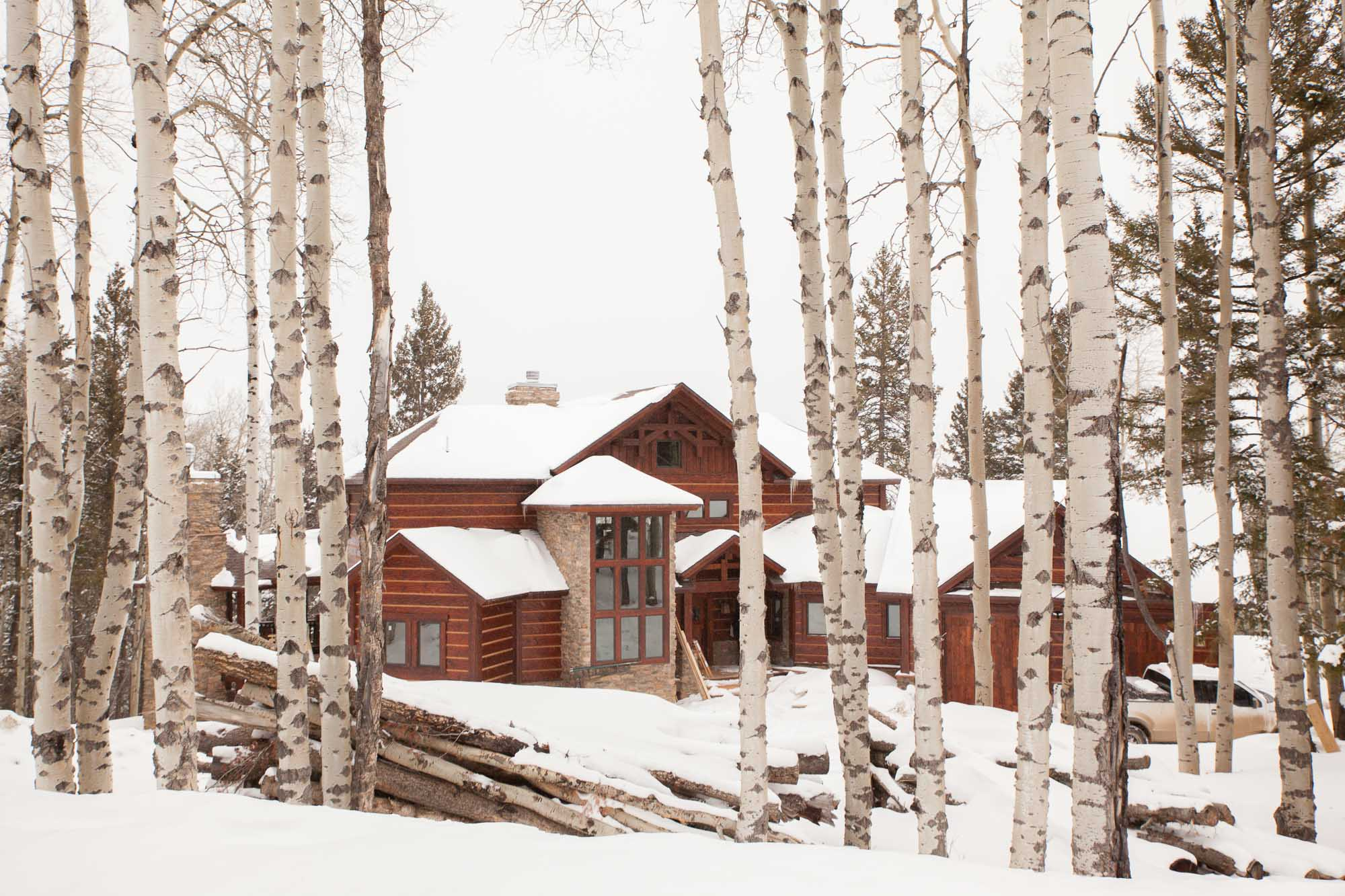 Log home cabin in the snow