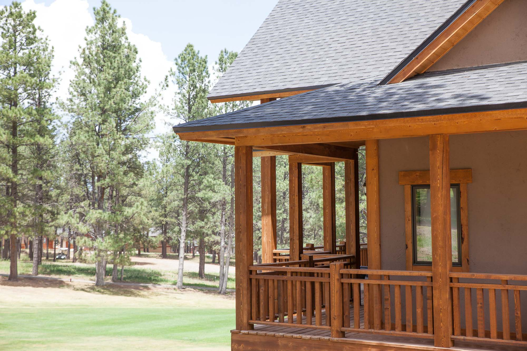 custom designed luxury log home on the golf course