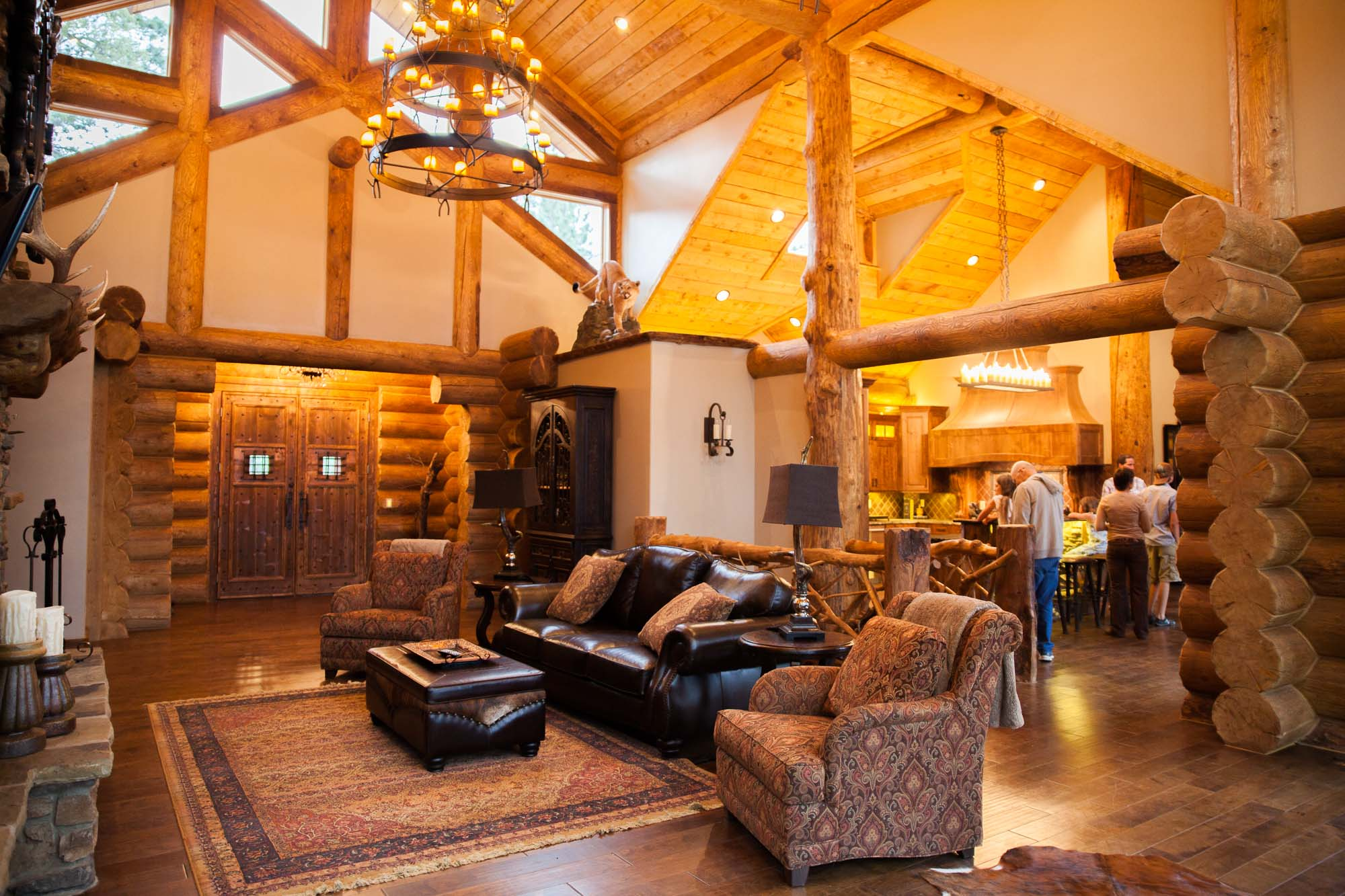 custom designed living room log cabin in angel fire, New Mexico