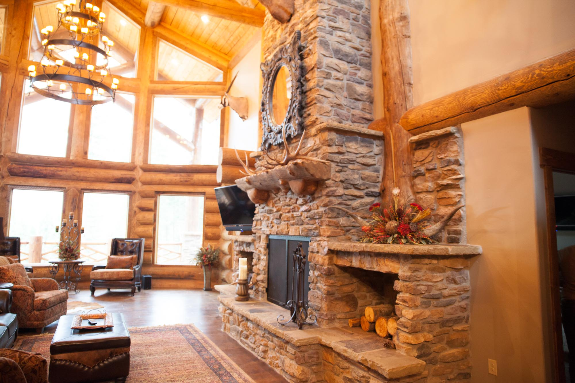custom design stone fireplace in angel fire, New Mexico