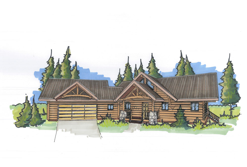 custom designed log cabin