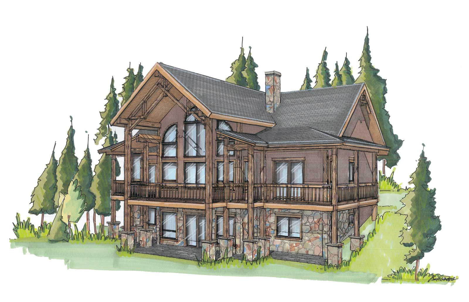 custom designed luxury log home columbine back right view