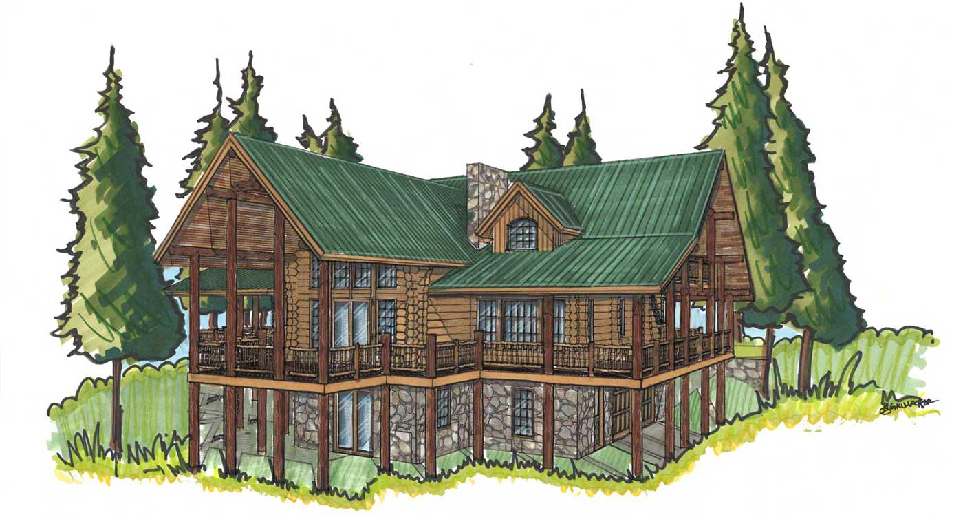 custom designed log home grand hacienda front view