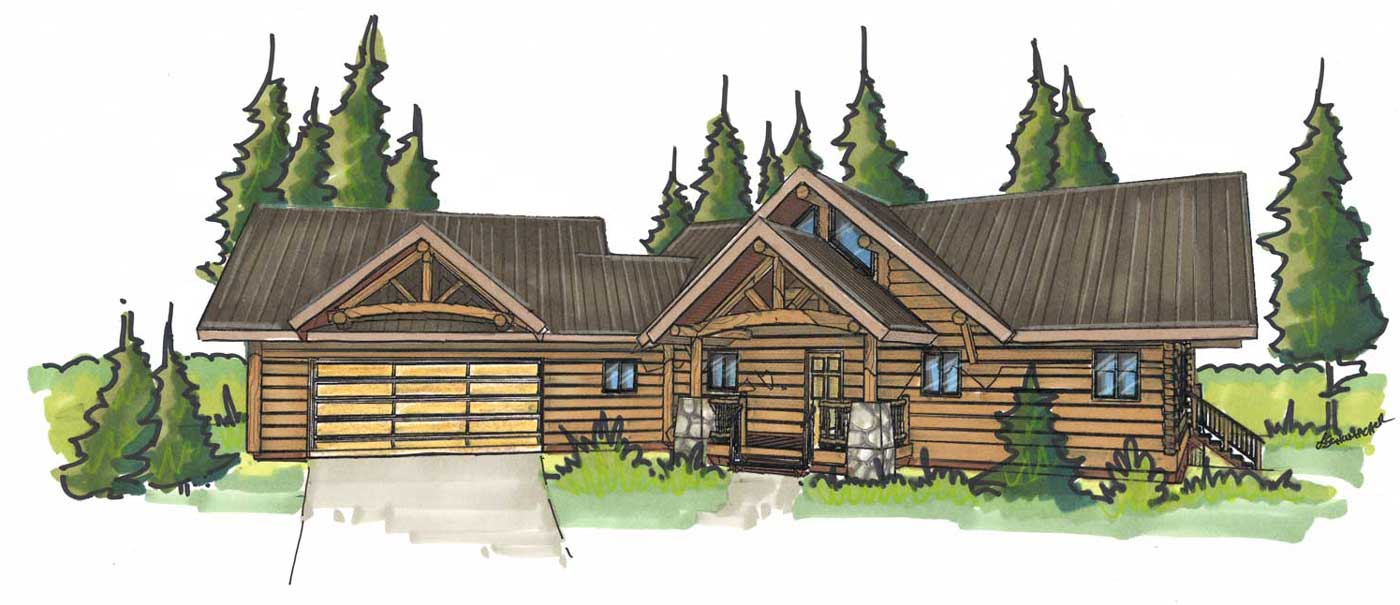 custom designed log home philmont