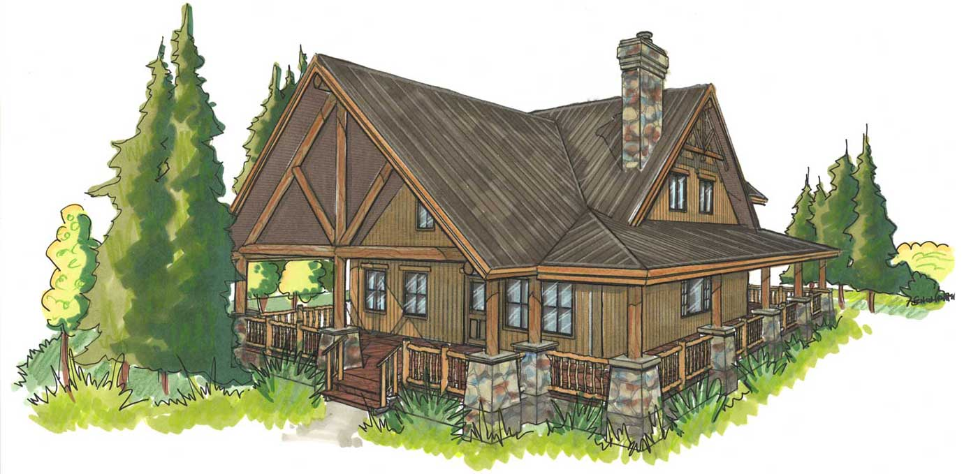 custom designed log home kit Pleasant Valley