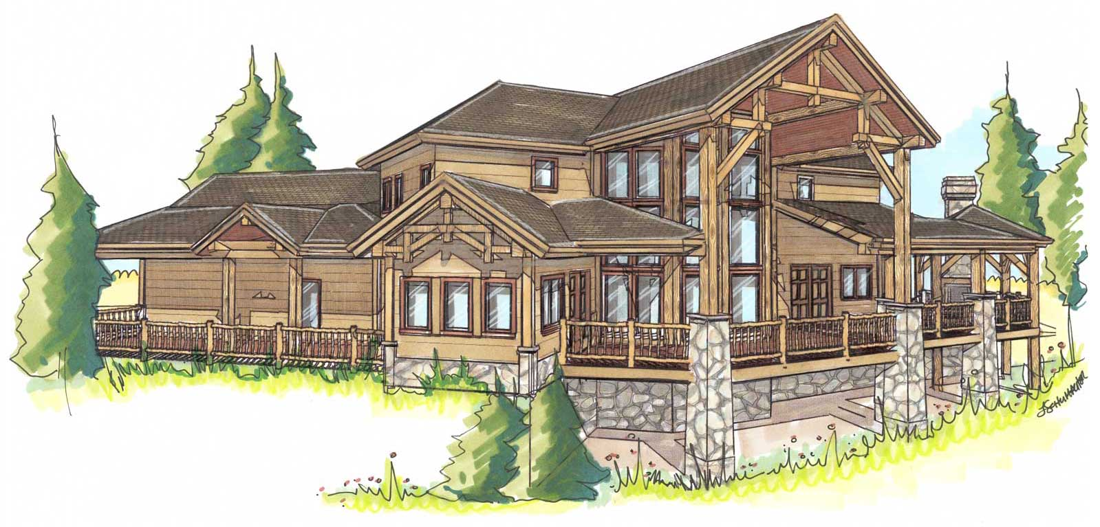 custom designed log home kit Prairie Song