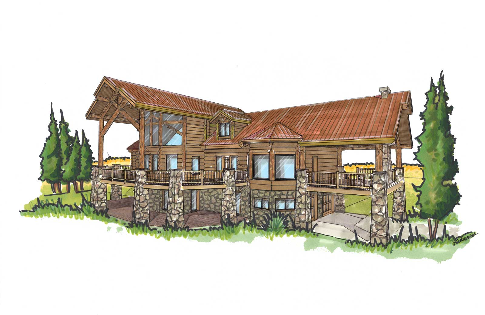 Telluride custom designed log home back right view