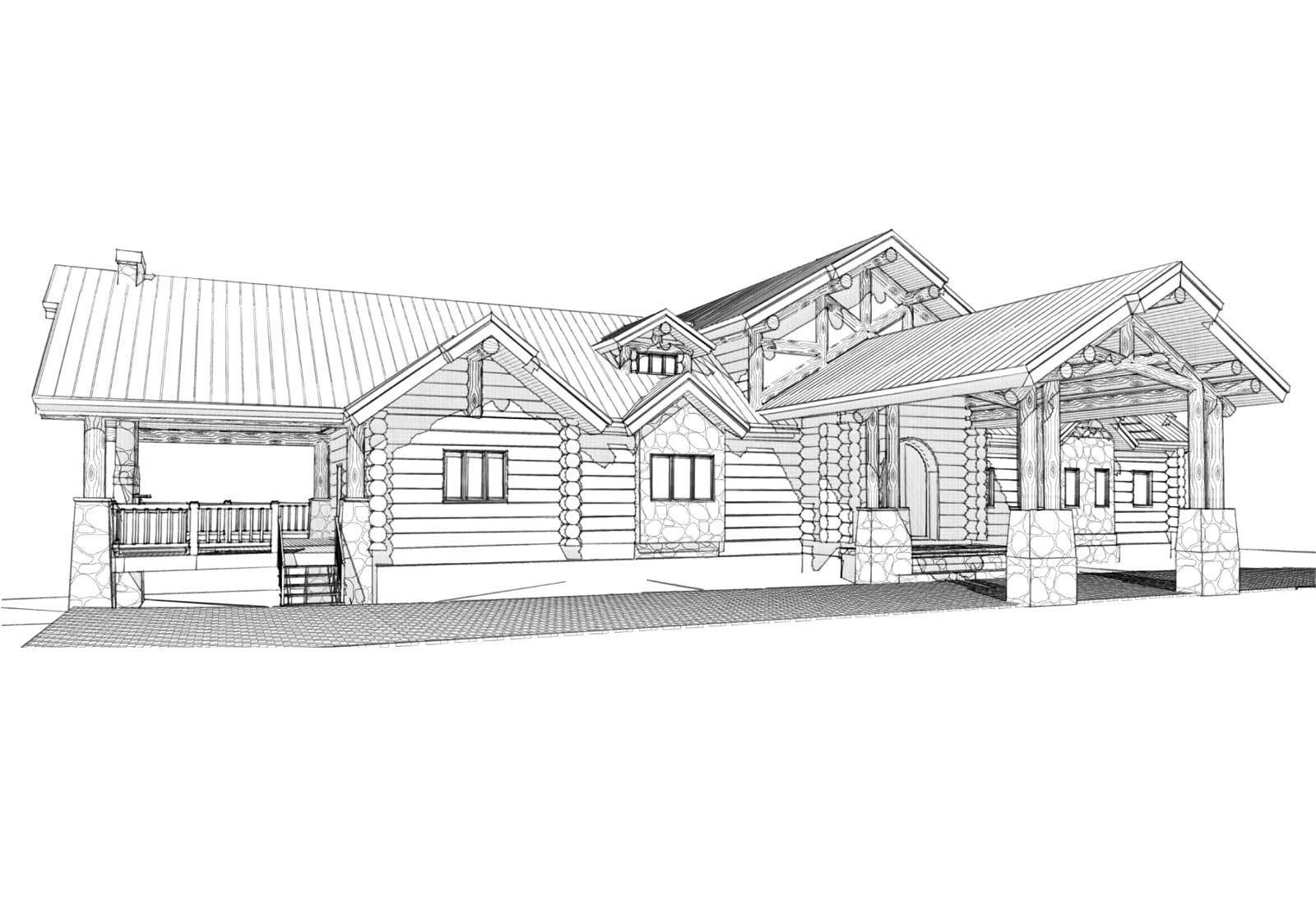 Telluride custom designed log home front left view