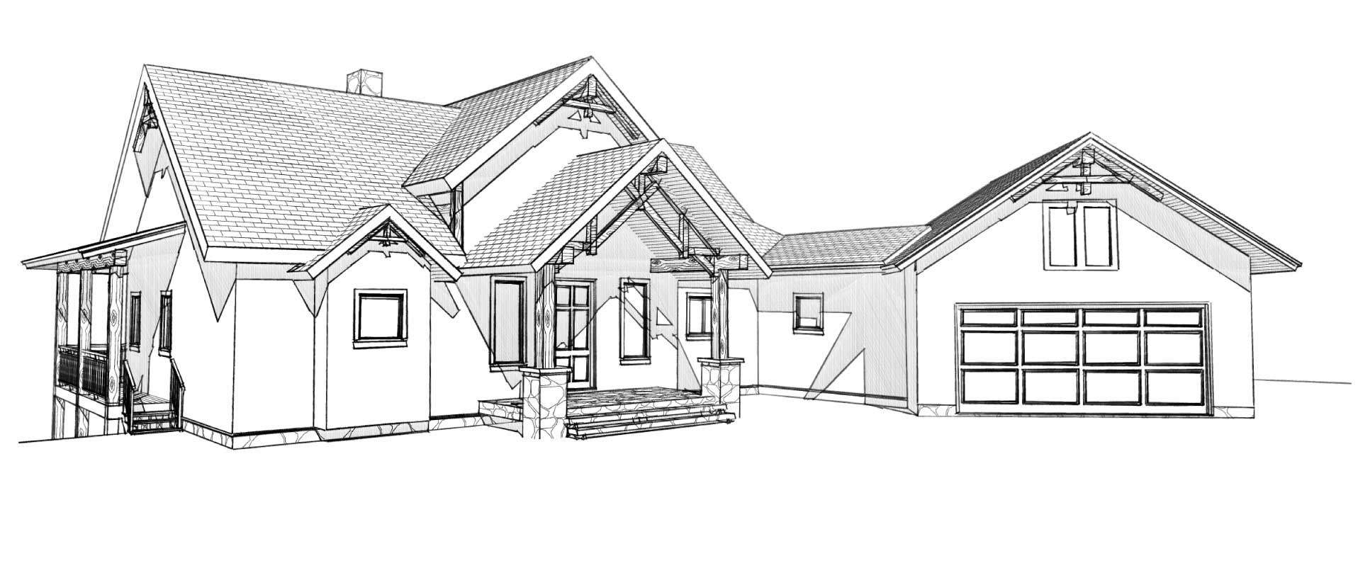 custom designed luxury log home columbine front left view