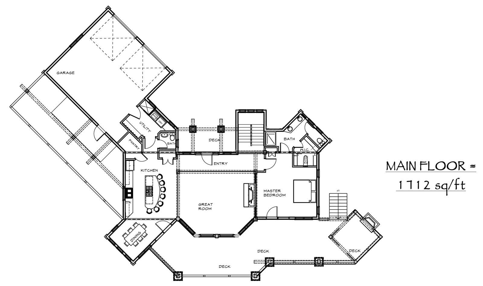 custom designed log cabin prairie song plan view