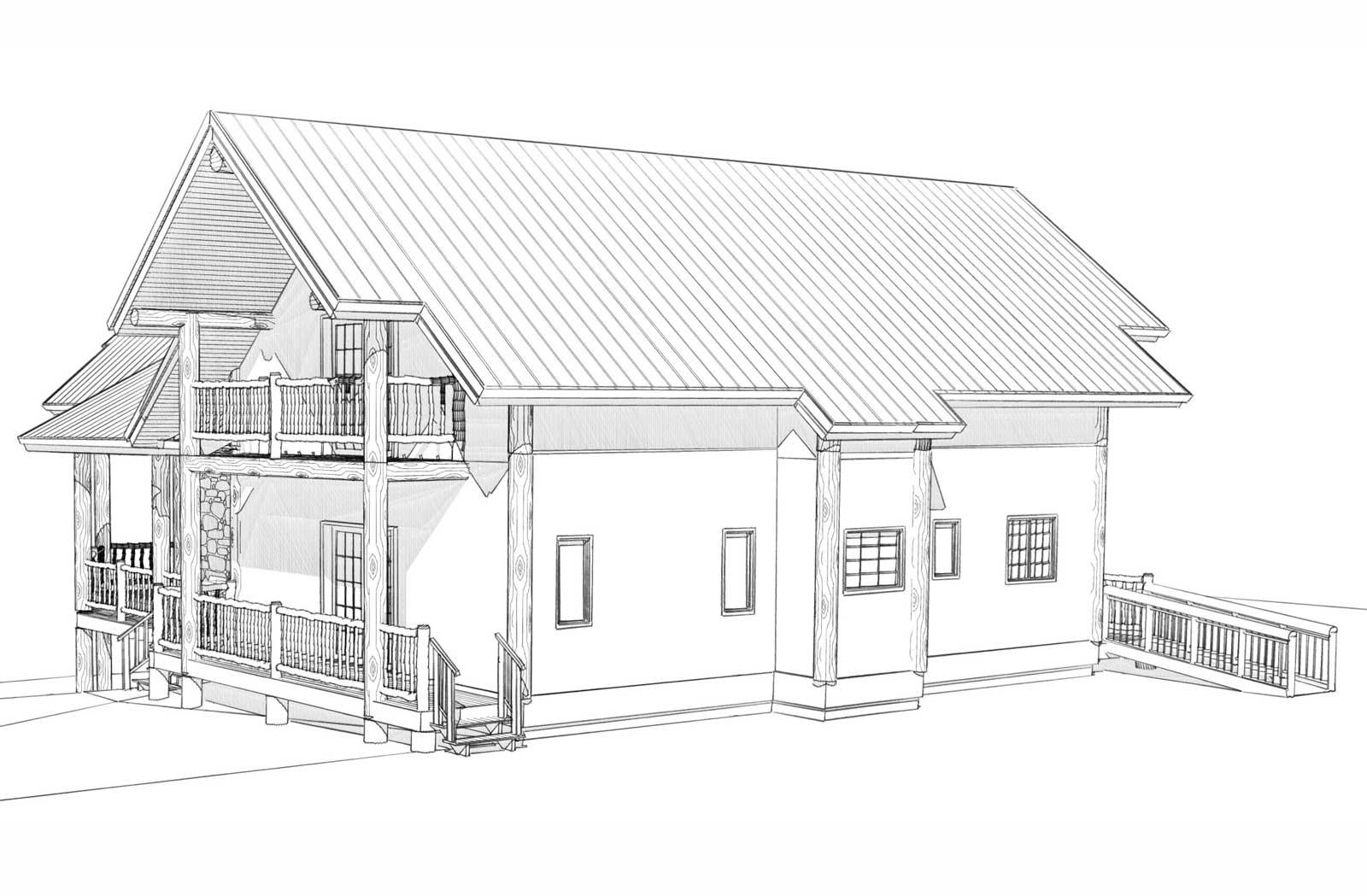 Durango custom designed log home back left view