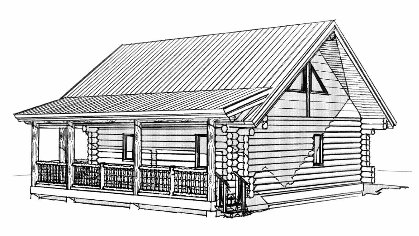 custom designed luxury log home casita back left view