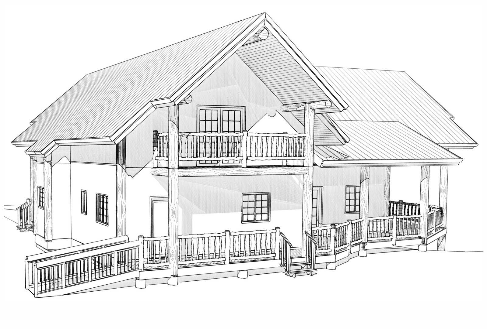 Durango custom designed log home back right view