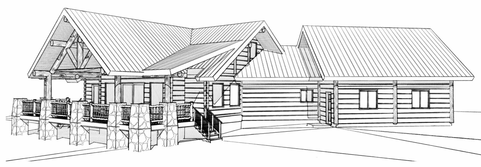 custom designed log home philmont back right view