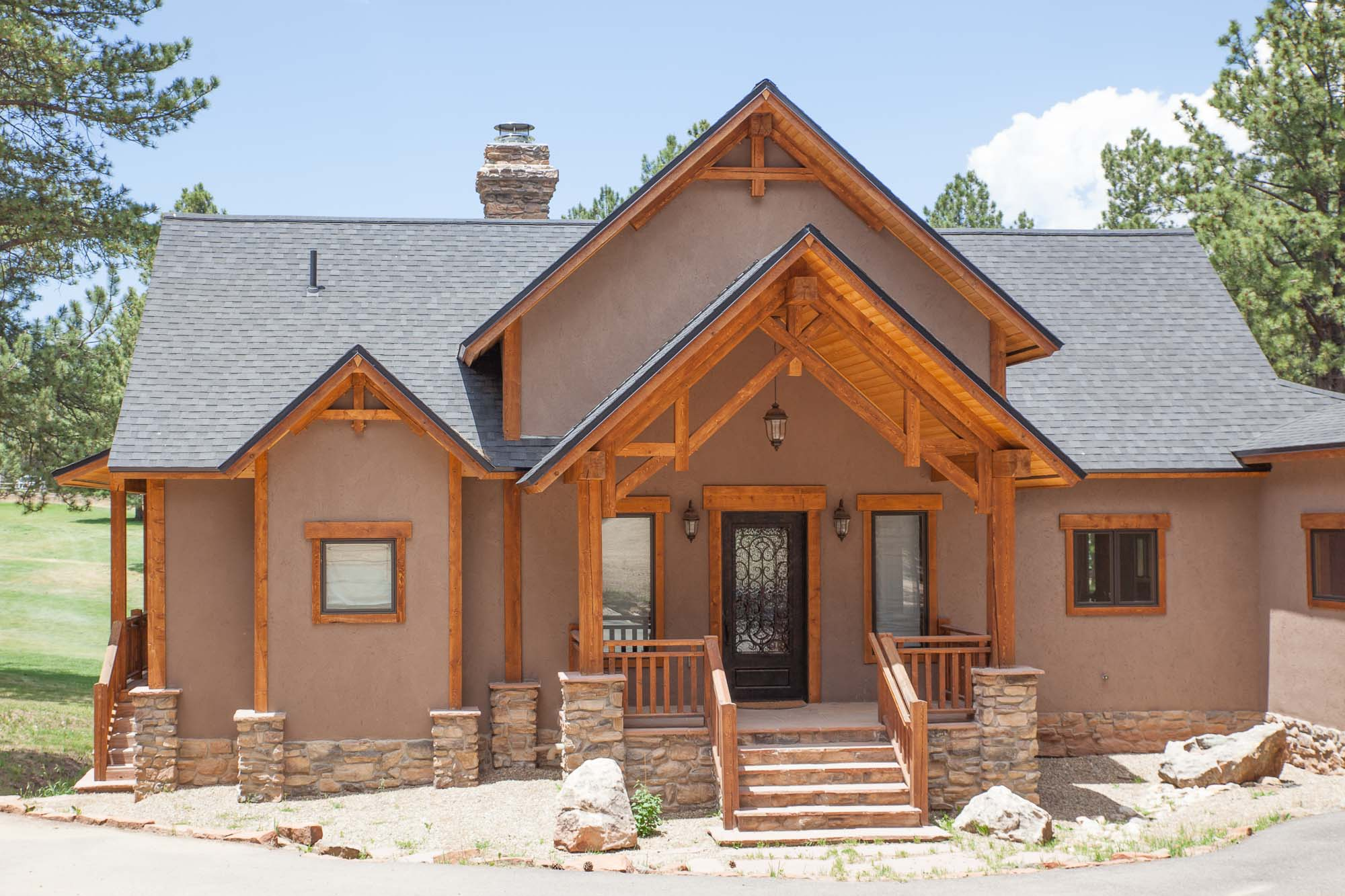 timber home on the angel fire golf course