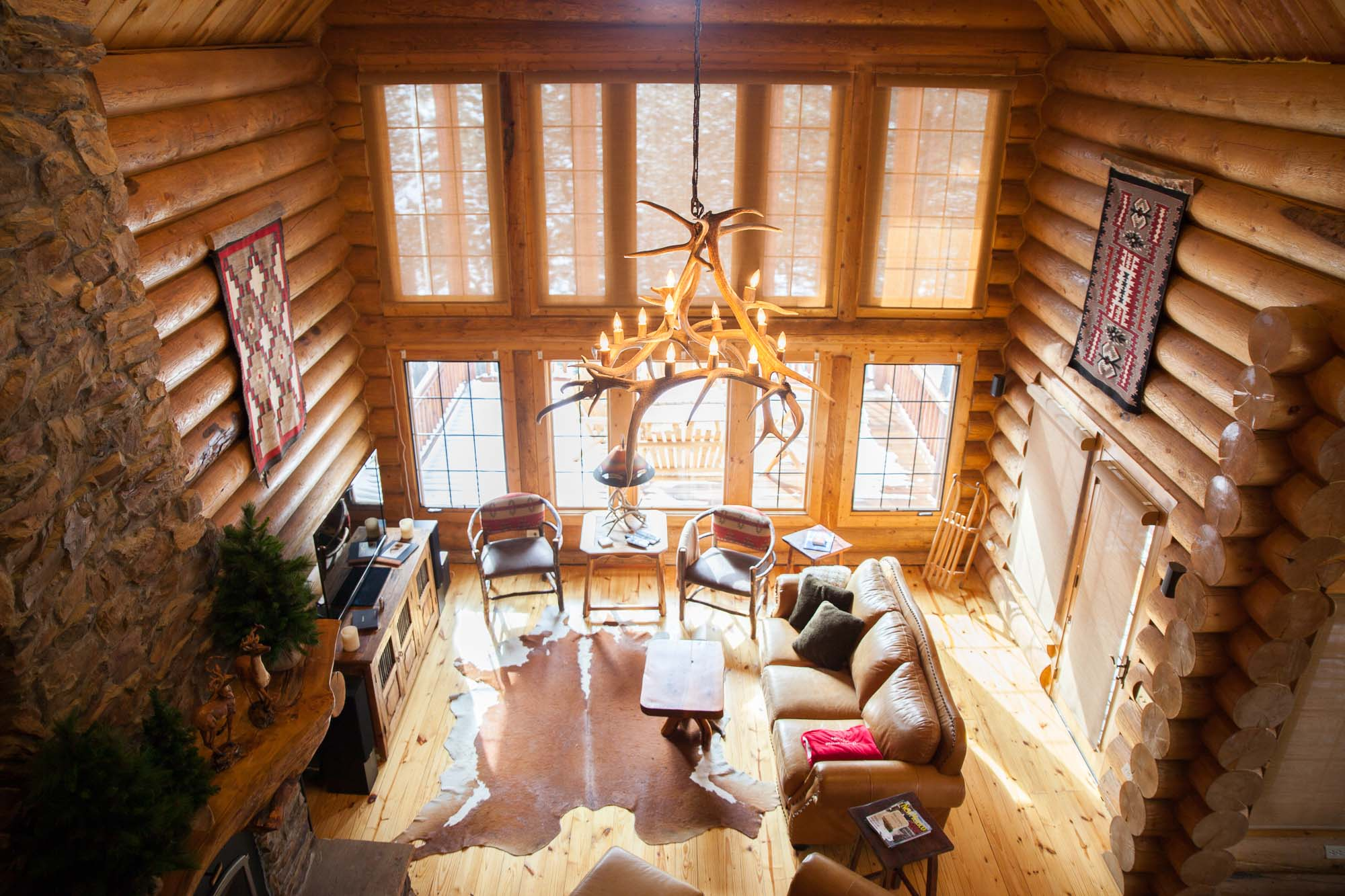 two story luxury lodge living room