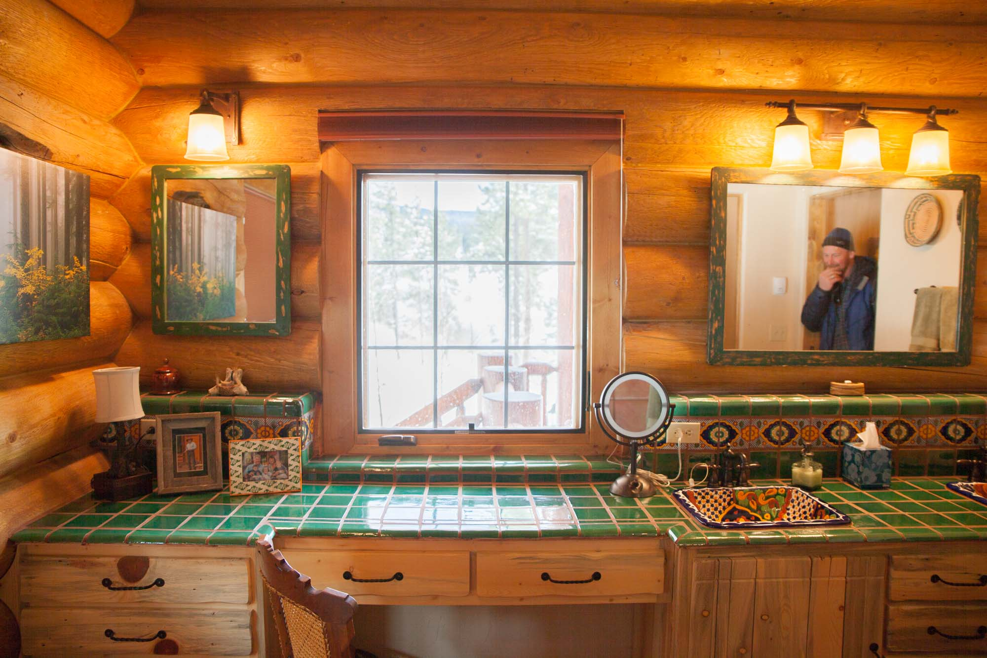colored tile log cabin bathroom