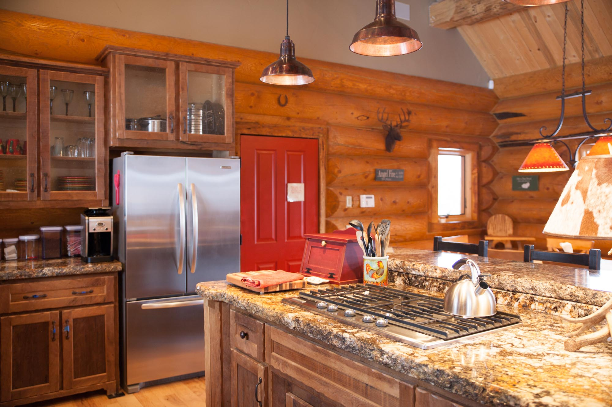 log home luxury kitchen granite countertop