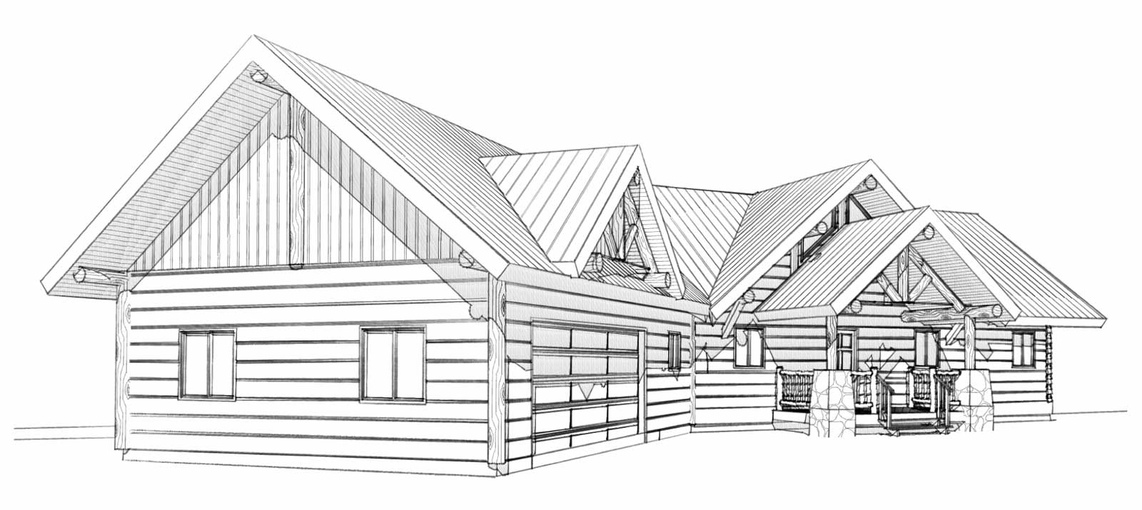 custom designed log home philmont front left view