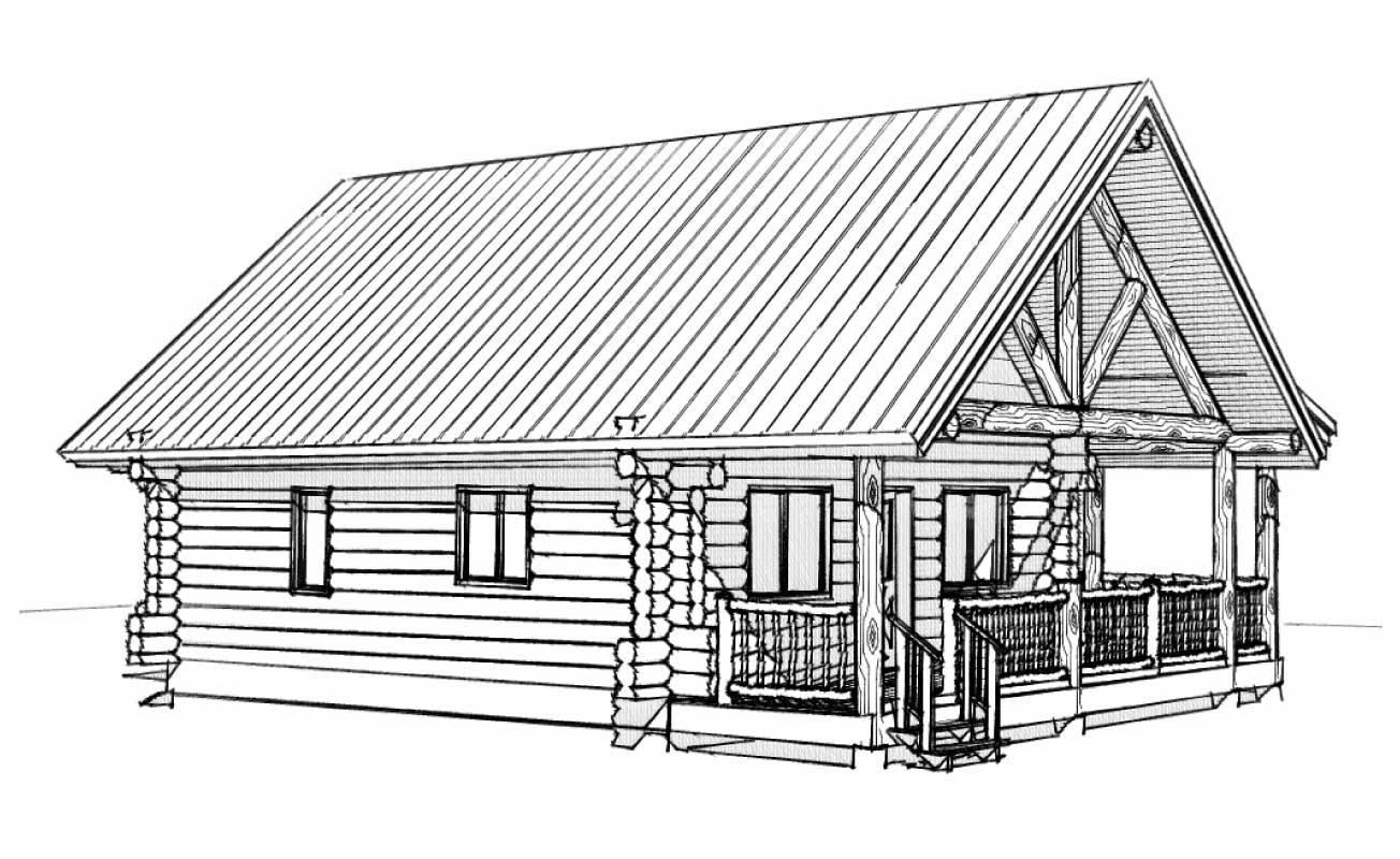 custom designed luxury log home bohannon front left view