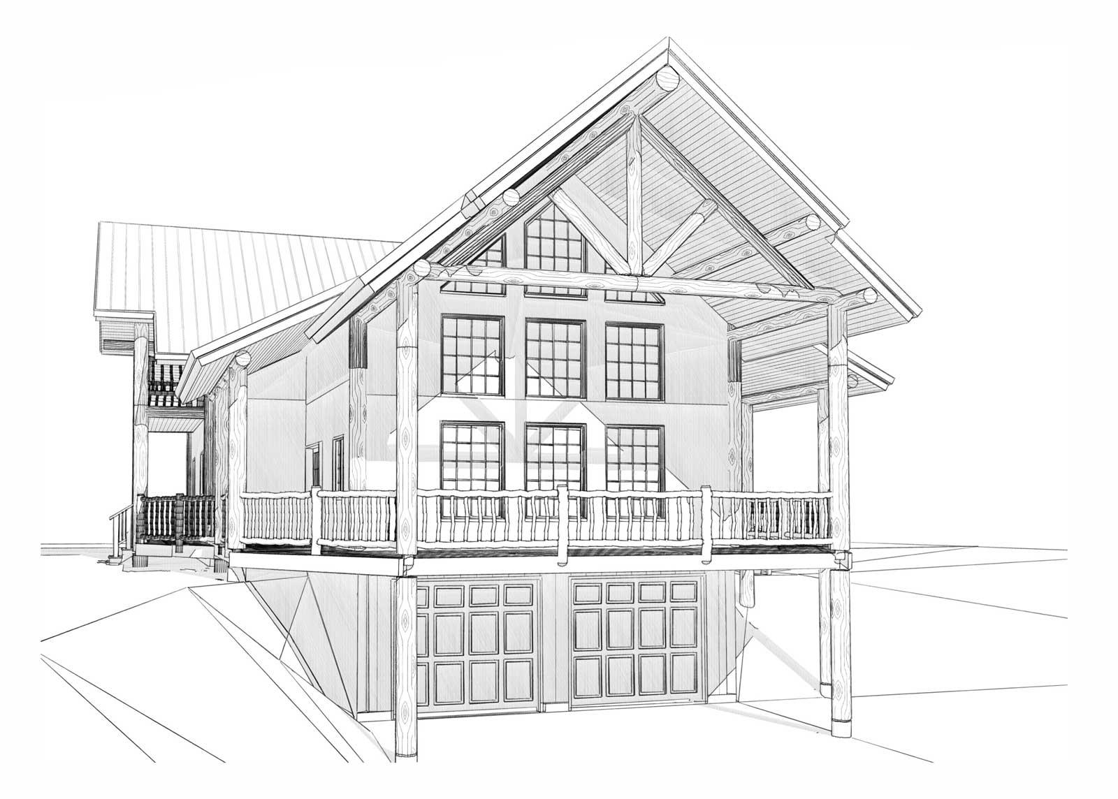 Durango custom designed log home front left view
