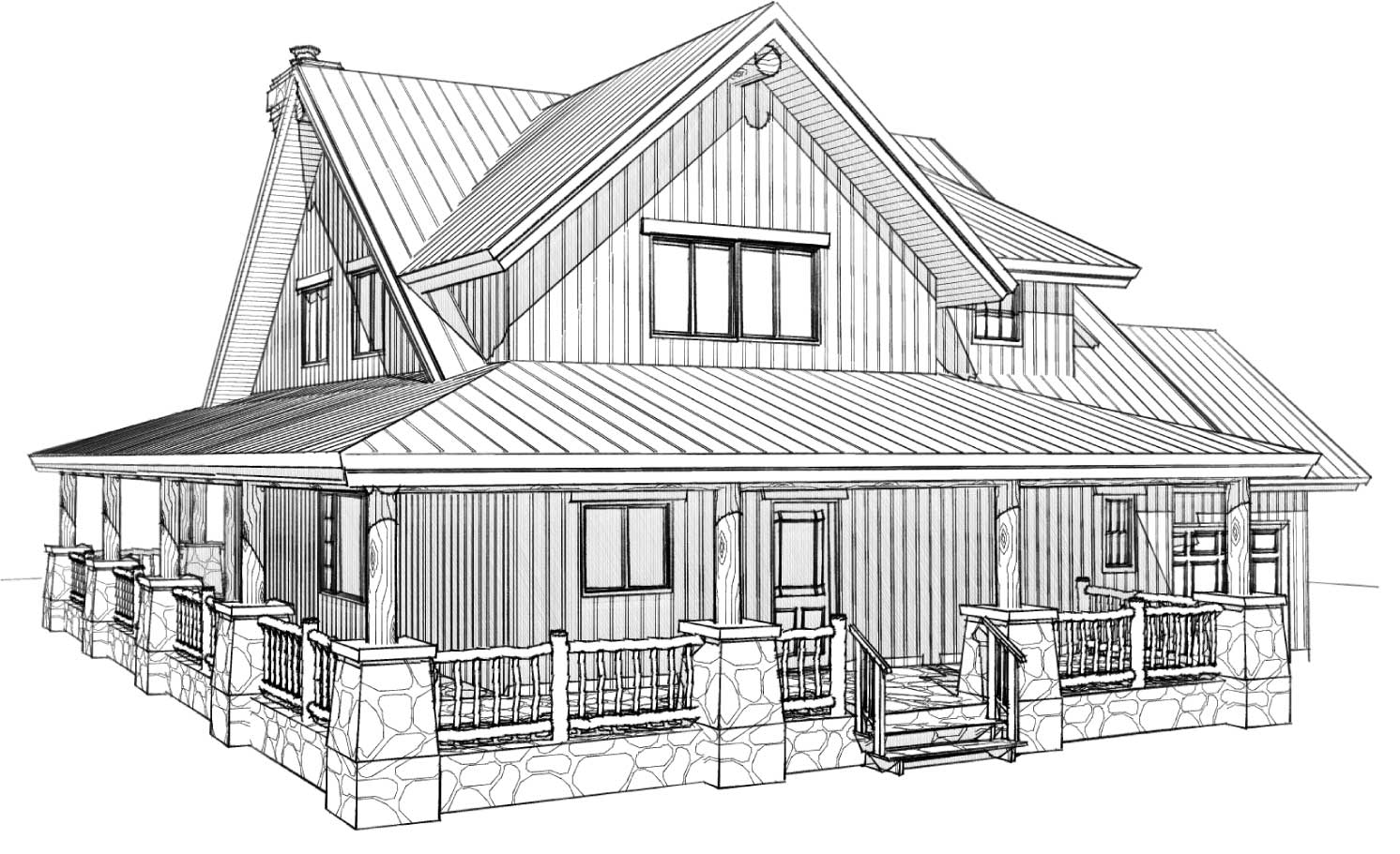 custom designed log home pleasant valley front left view