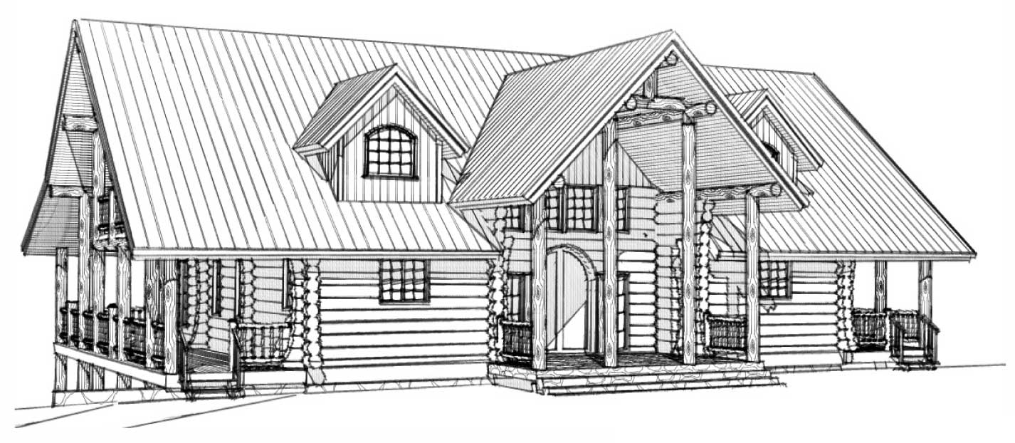 custom designed log home grand hacienda front right view