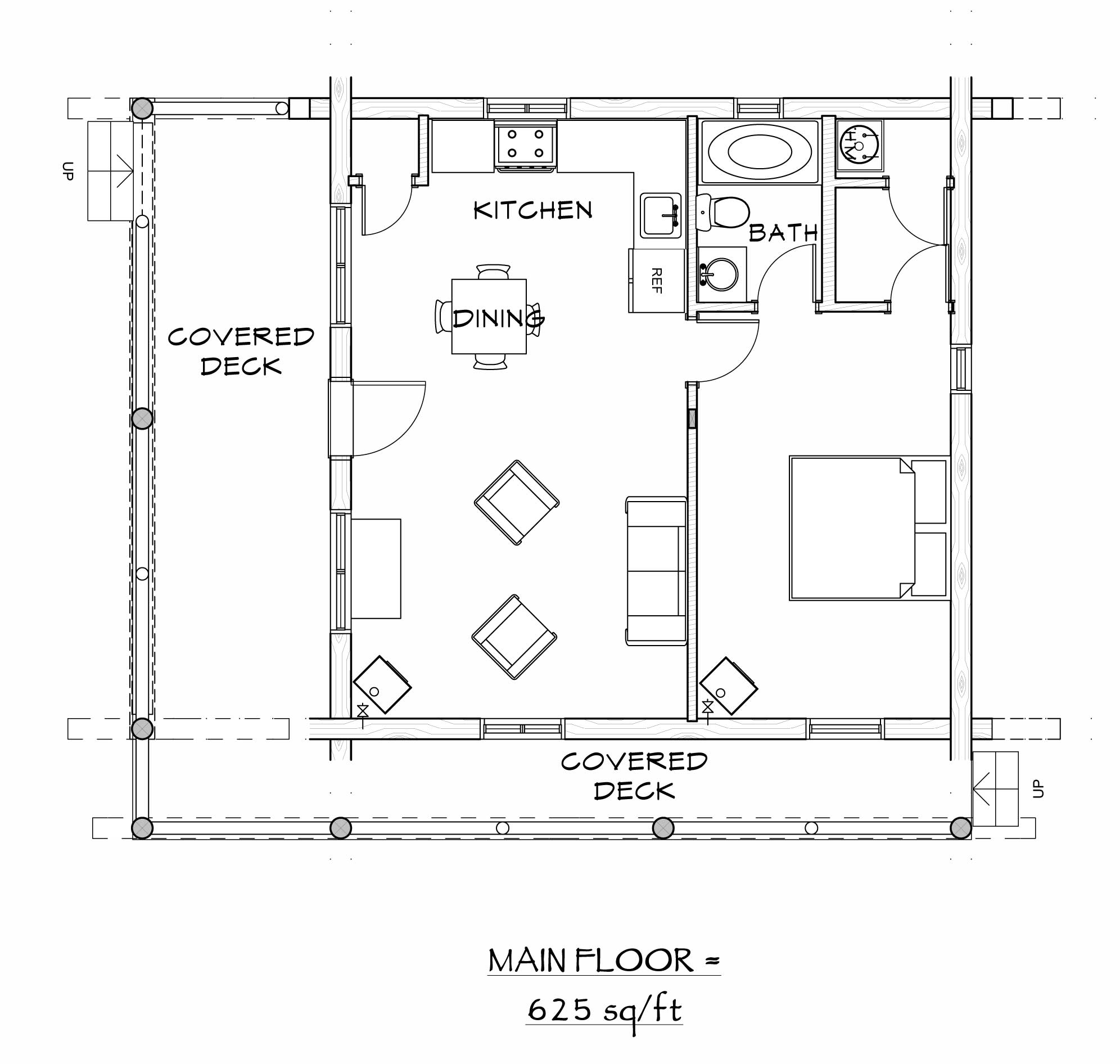 custom designed luxury log home casita plan