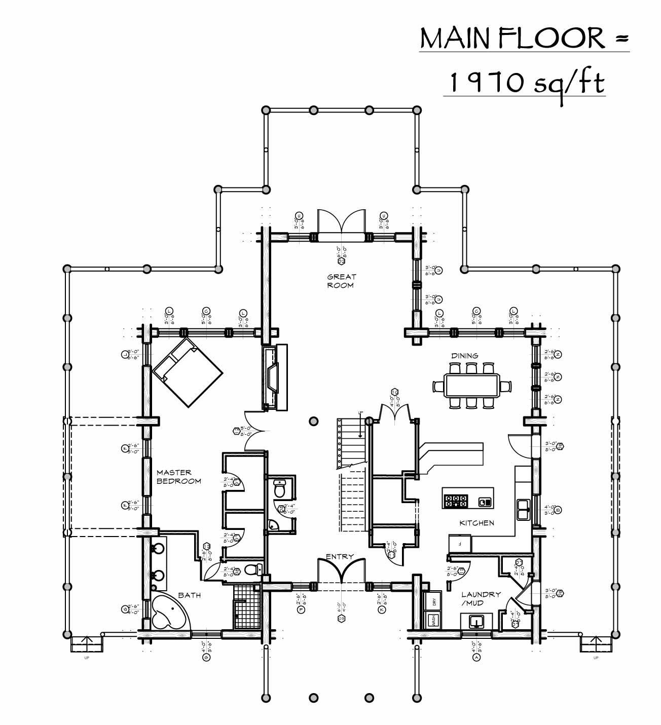 custom designed log home grand hacienda plan view