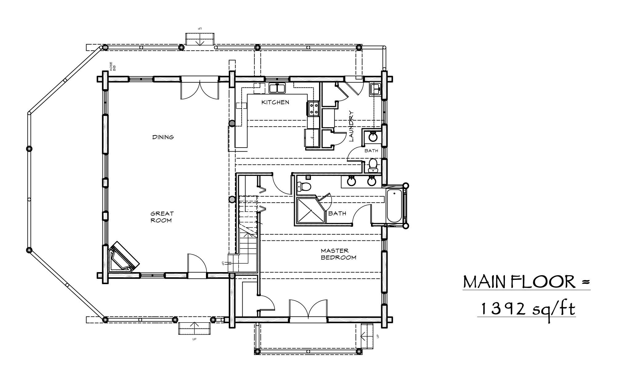 Durango custom designed log home plan view