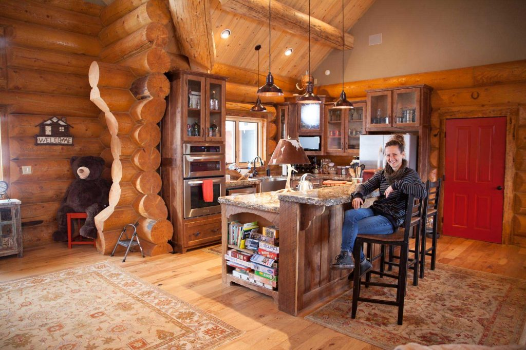 Custom designed & built log home kitchen in Northern New Mexico by Mammoth Mill & Construction