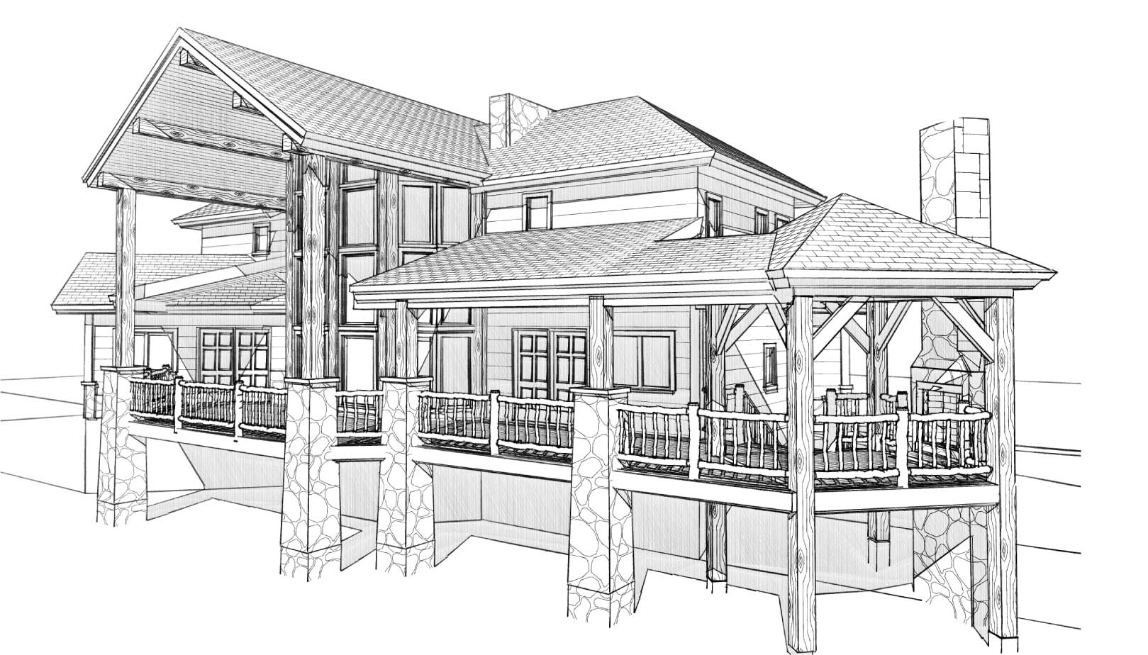 custom designed log cabin prairie song front right view