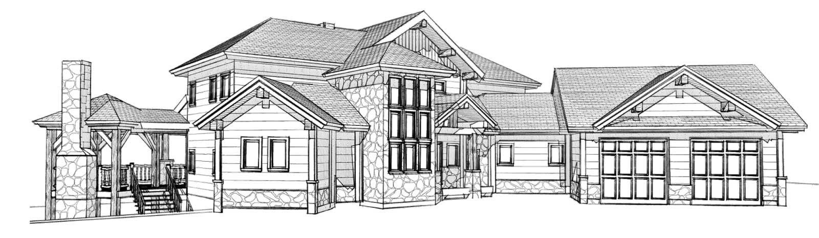 custom designed log cabin prairie song rear right view
