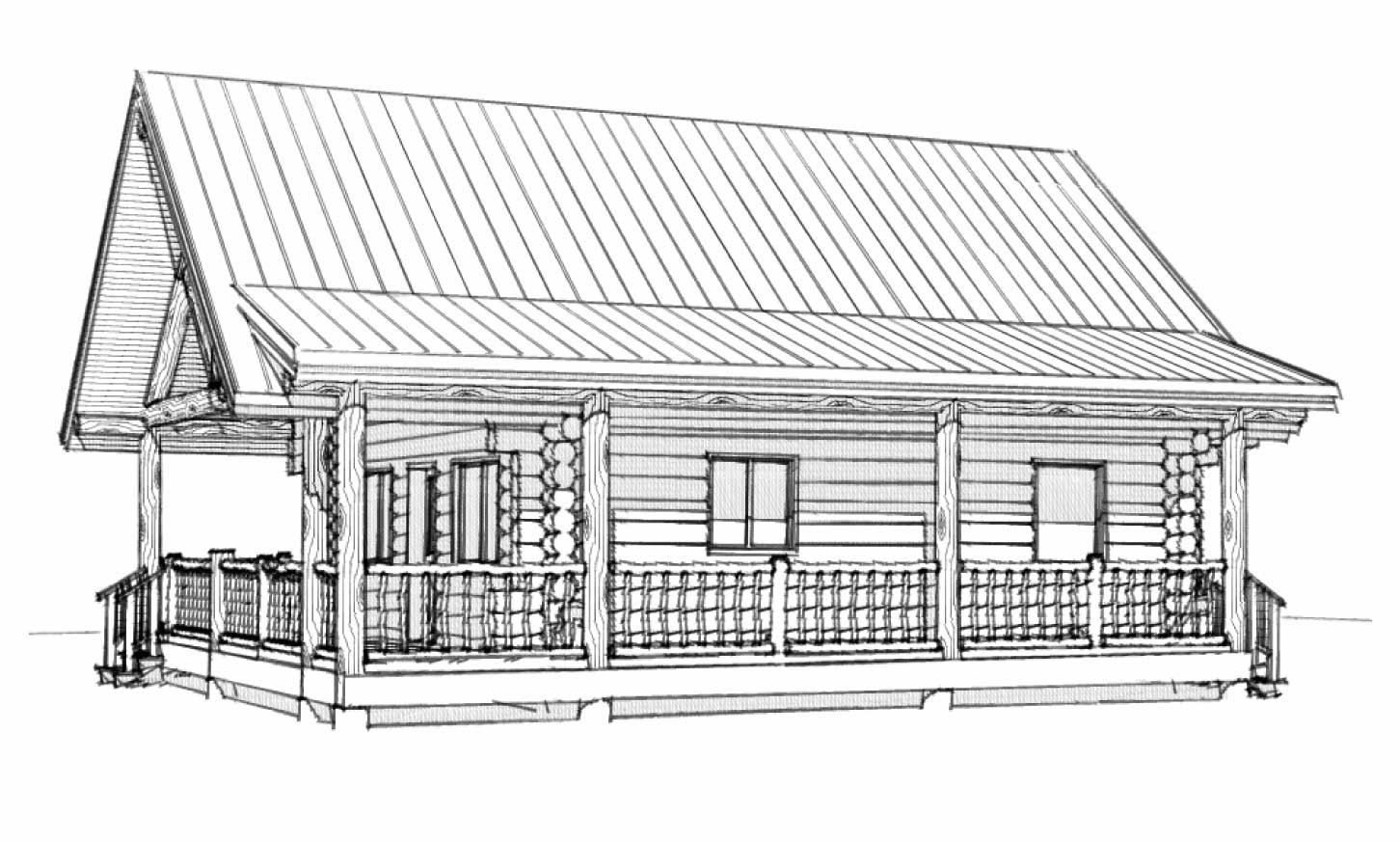 custom designed luxury log home casita front right view